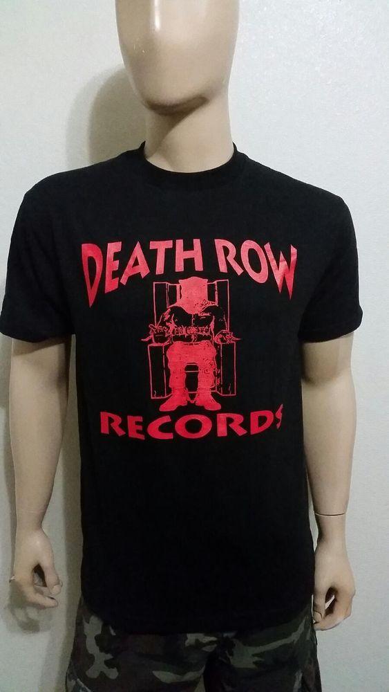 Death row records black t shirt red logo 2pac hip hop la rappers nwa