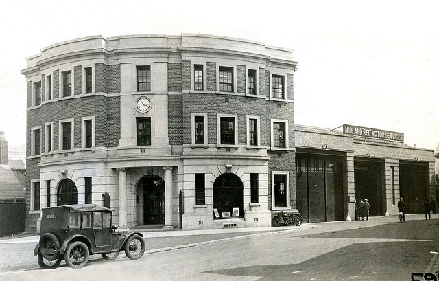 Spencer House, Digbeth Garage, Birmingham, the building being the offices of Midland 'Red' Motors. by Stockholm Transport Museum Commons, via Flickr