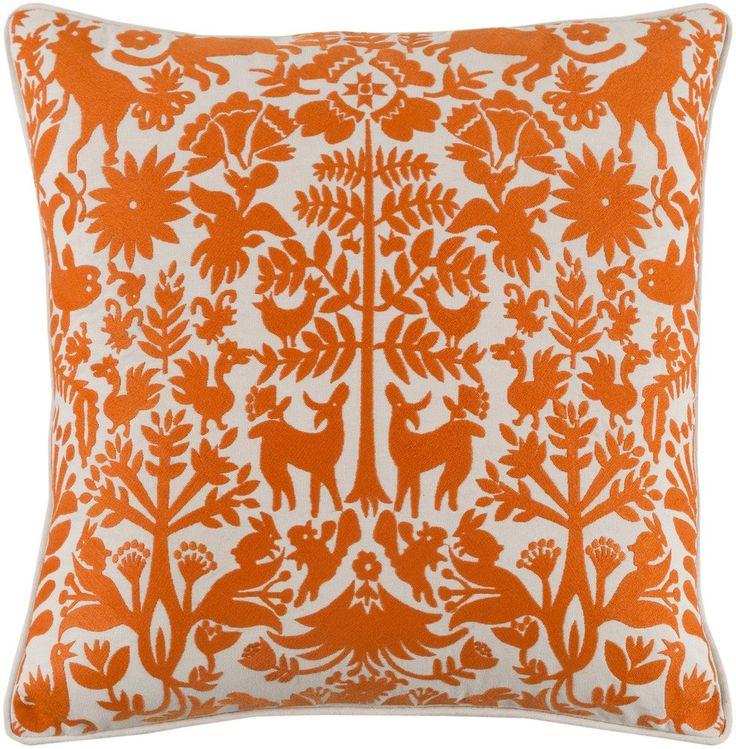 maya folk art orange pillow