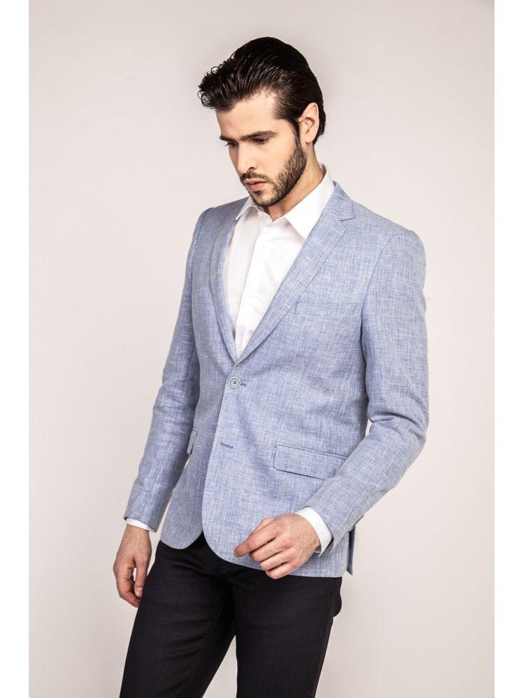 Veste de costume texturée bleu ciel coupe slim