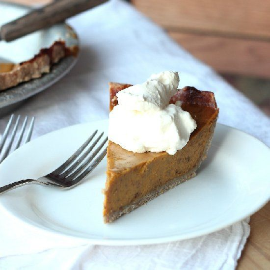 Pumpkin Pie with a rustic whole grain oatmeal crust