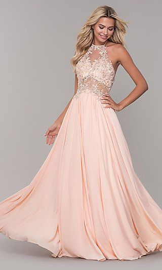 785af3bb9c3 High-Neck Peach Prom Dress with Embroidered Bodice in 2019