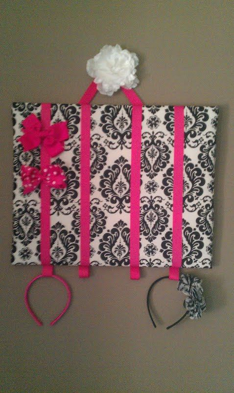 I want to make this...Bow Organizer with Headband Holder.  Girls 16x20in Wall Mountable Bow Holders.. $25.00, via Etsy.