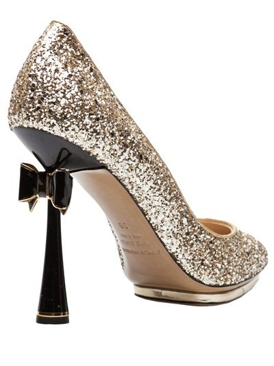 Glitter bow pump in gold from Nicholas Kirkwood.  $1095 NOW $766