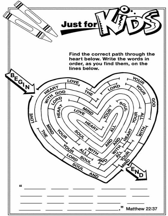 Matthew 22 37 children 39 s church faith pinterest for Matthew 6 25 34 coloring page