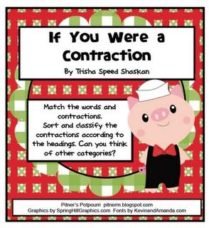 Pitner's Potpourri: If You Were a Contraction......Freebie: Pitner Potpourri, Contraction Freebies, Contract Freebies, Grade Language, Language Art, Writing Ideas, Common Cores, Classroom Ideas, Pitner S Potpourri
