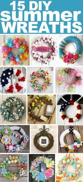 15 Fabulous DIY Summer Wreath Ideas. Ooh so many cool ideas here!