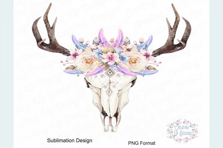 Boho Cow Skull With Flowers Png 289188 Sublimation Design Bundles In 2021 Cow Skull Tattoos Cow Skull Pretty Wall Art