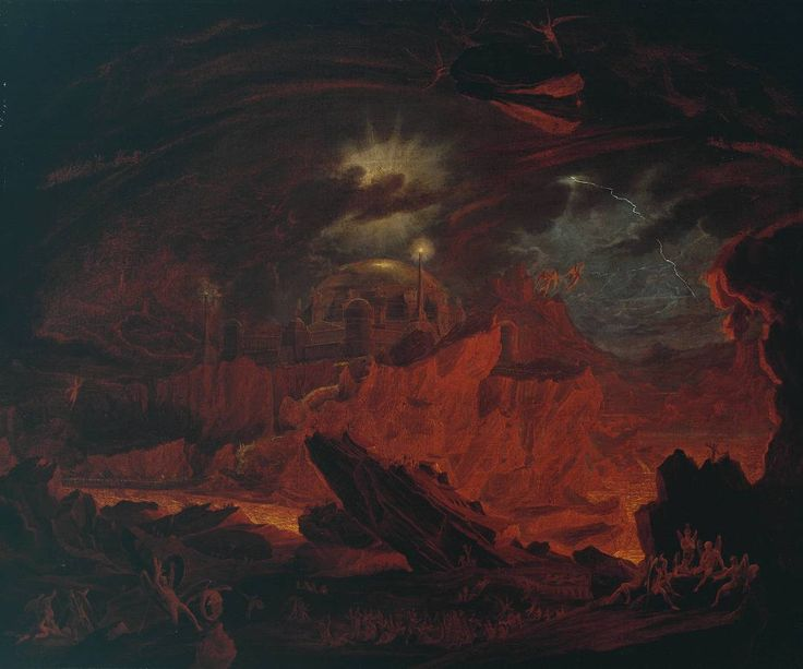 "The Fallen Angels Entering Pandemonium - from Paradise Lost book 1 - formerly attributed to John Martin - I do like this painting from the Tate's collection, both for its lava-glow and the fact that for a small painting (about 2' x 2'6"") its enormous with quite an epic scale and scope."