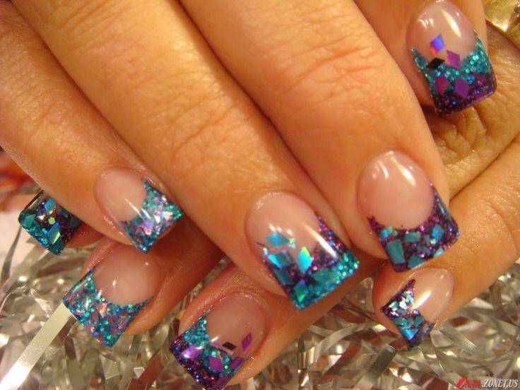 .zwart, azuurblauwe combie nagels
