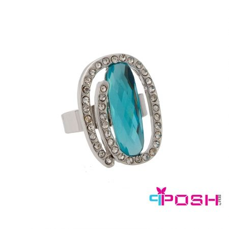 "Willow - Ring.  - Fashion ring - Silver toned with encrusted white stones surrounding a blue stone in the center - One size ring (pinch/pull type sizing closure on back of ring) - Dimension: 0.98"" length, 0.79"" width  POSH by FERI - Passion for Fashion - Luxury fashion jewelry for the designer in you.  #Jewellery   #rings"
