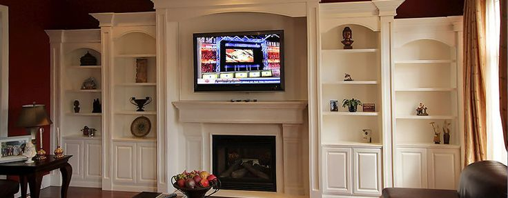 Fireplace Wall Unit Mdf Crown Moulding Bookcase Built