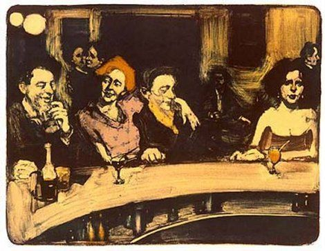 "Malcolm Liepke, ""BAR SCENE""  ORIGINAL LITHOGRAPH  20 ½ X 24 ½ INCHES on ArtStack #malcolm-liepke #art"