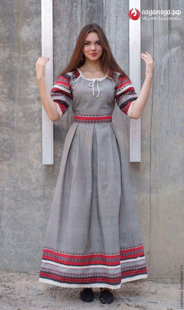 Выкройка платья славянского стиля