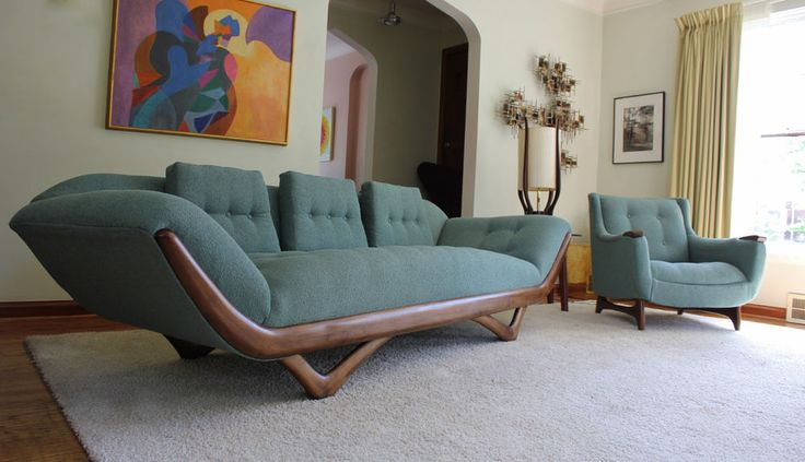 New Upholstery Mid Century Adrian Pearsall Sofa And