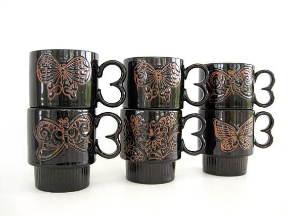 Ceramic Coffee Cups Stacking Set Tea Cups Dark Brown Mugs