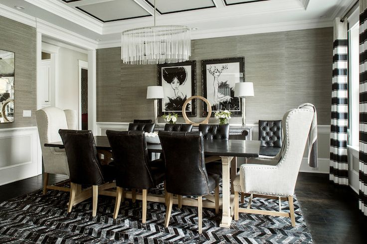 Karen B Wolf Interiors - dining rooms - Martine Leather Side Chair, Belfort Wingback Upholstered Dining Chair, striped curtains, horizontal ...