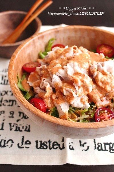 豚肉と水菜のピリ辛韓国風冷しゃぶサラダ  たっきーママ オフィシャルブログ「たっきーママ@happy kitchen」Powered by Ameba