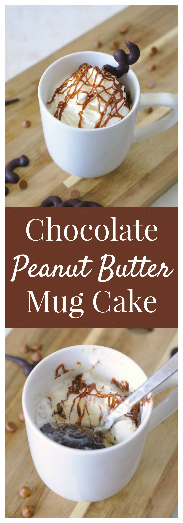 Chocolate Peanut Butter Mug Cake – an indulgent single serving dessert ready in just minutes! Peanut butter chocolate cake batter topped with whipped cream and peanut butter! #choctoberfest #chocolate #peanutbutter #mug #cake #dessert