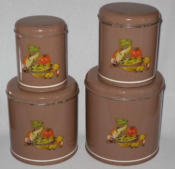 Vintage Metal Canister Set Anthropomorphic Fruit And Veggies On Etsy, $22.00