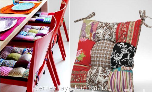 подушка на стул в лоскутном стиле