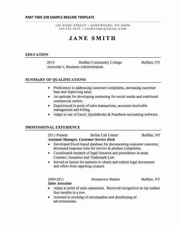 Part Time Job Resume Unique 21 Basic Resumes Examples For Students Basic Resume Examples Basic Resume Job Resume Examples
