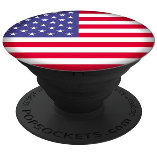 """Show the love of your country with this American Flag PopSocket! A grip, a stand, a wrap, and more. Add a single PopSocket, or a pair of PopSockets, to the back of almost any mobile device to transform its capabilities. PopSockets """"pop"""" whenever you need a grip, a stand, an earbud-management system, or just something to play with."""