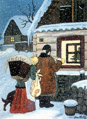 The most typical Czech Christmas and winter themes painted by the Czech painter Josef Lada 1887-1957, which follows his work portrayed in the memories of his childhood in the village Hrusice.Mal its own distinctive style, which he admired and Pablo Picasso.Josef Lada painted many paintings and illustrated numerous children's books , newspapers, magazines, manger, but also posters, postage stamps etc. It is one of the most beloved Czech painters.