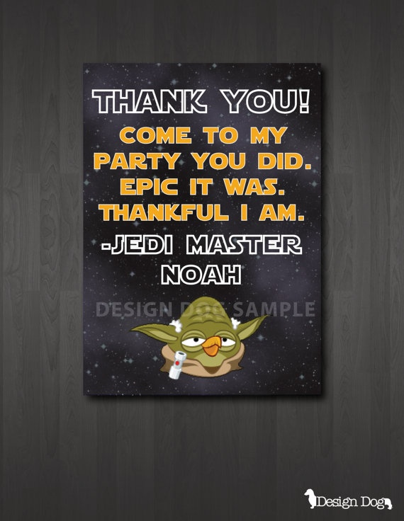 Star Wars Angry Birds Thank You Card. We will be sending these to Donovan's party guests! Message me through Pinterest if you are interested in purchasing this instant download!