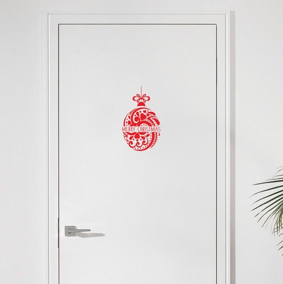 Merry Christmas Ball Door Decal Christmas Decoration by wallineed