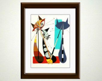 Lettre M, Cat Alphabet, style Mid siècle moderne, rétro atomique Eames, Mod Cat Alphabet, giclée de 8 x 10 numérotés imprimer