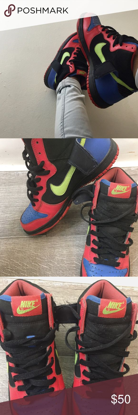 Mid-top Neon Nikes 1's neon 💖💚💙midtop #Nikes  💳$40 size 8.5  worn but good condition 🆗🆒except for the creases in the front (which i will provide care information upon purchase) Nike Shoes Athletic Shoes