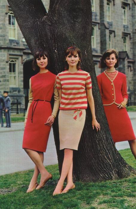 Fashions in early 60s.  I looked exactly like that.  We thought we were sooooooo hot.!! (giggle)