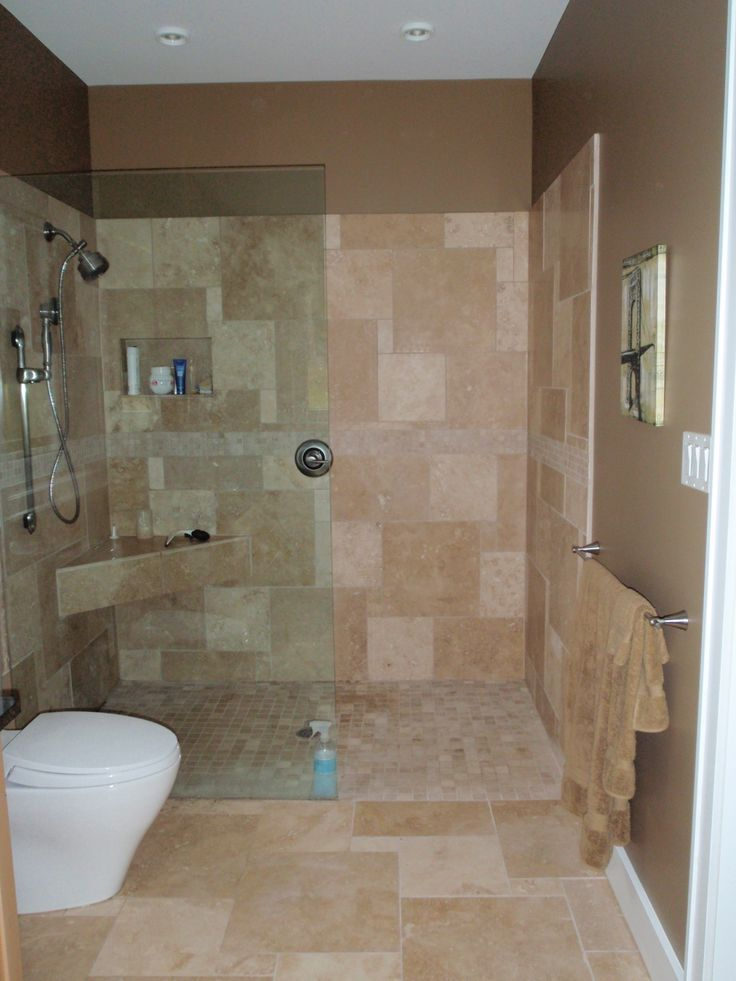 Open shower no door bathroom ideas tips pinterest for Show bathroom designs