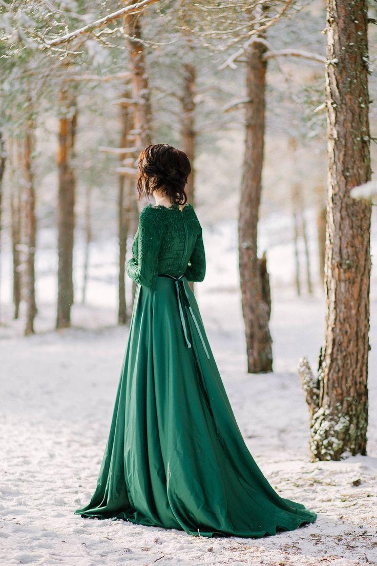 Зимняя свадьба Изумрудная свадьба Изумрудное платье невесты зеленая свадьба OM_wedding_dress
