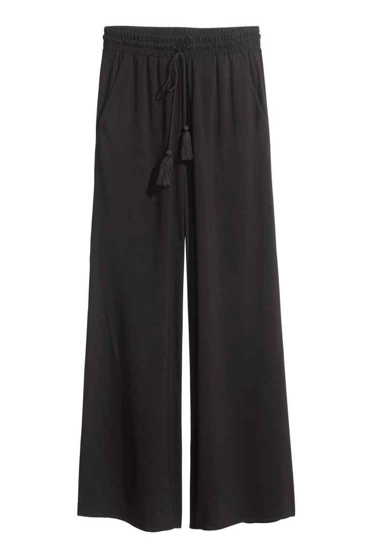 Wide trousers: Wide trousers in a viscose weave with an elasticated drawstring…