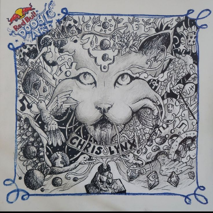 Red Bull Doodle Art xristos monokrousos