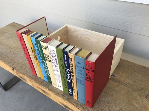 Faux Book Box Router Hider Green Orange Turquoise White Res Book Spine Box Crate, Secret Book Hides Cords and Cables DVD