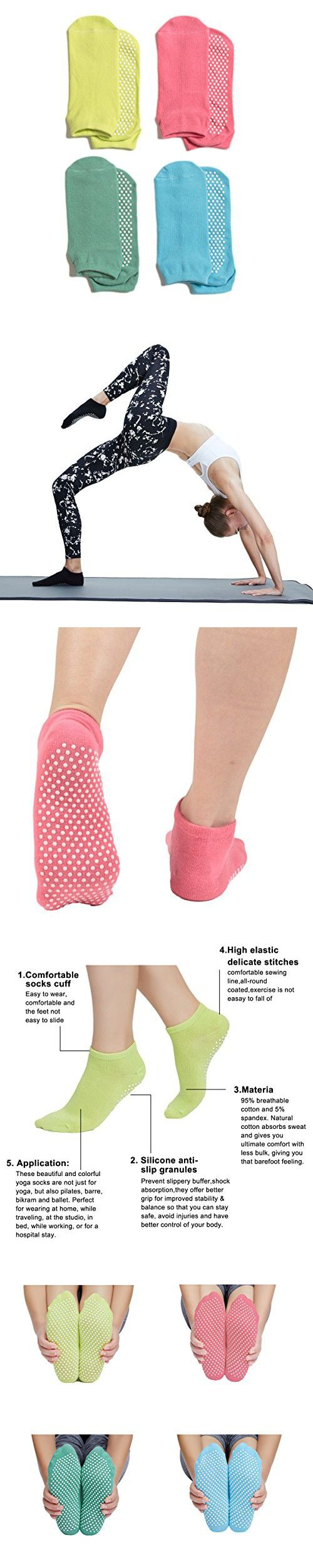 Yoga Pilates Socks Non Slip Skid with Grips for Pilates Barre Ballet 4 Pairs Cotton Socks One Size 5-10