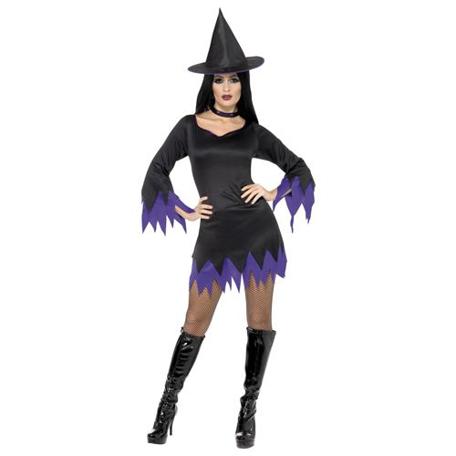 Witch Costume, Black and Purple, With Dress, Hat and Choker. http://www.novelties-direct.co.uk/Witch-Costume-Black-and-Purple-With-Dress-Hat-and-Choker.html