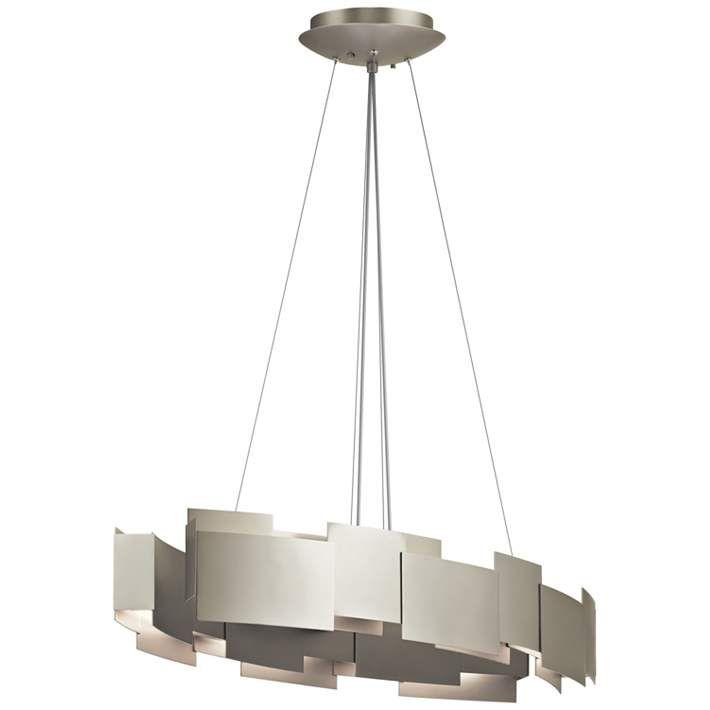 "Kichler Moderne 34 1/4""W LED Satin Nickel Oval Pendant Light"