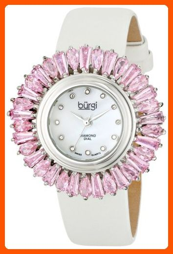 Burgi Women's BUR092PK Swiss Quartz Pink and White Crystal Accented Swiss Quartz Watch with Mother of Pearl Dial and White Fabric Strap - All about women (*Amazon Partner-Link)