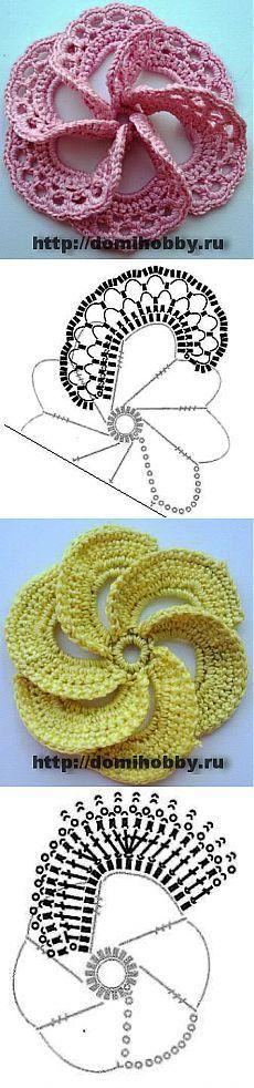 Объемные цветы крючком