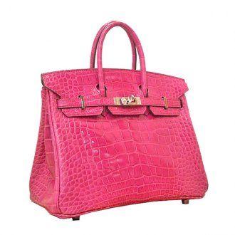 Hermes Birkin Bag 25 Peach Matt Niloticus Crocodile Skin Silver