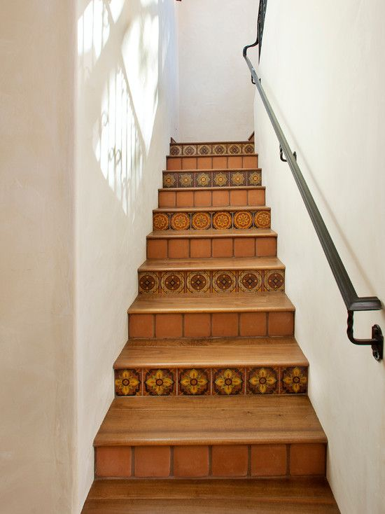 Subtle Decorative Tiles Every Other Step (versus Every Step), Simple Iron  Handrail. Tile Staircase   Mediterranean   Staircase   Santa Barbara   By  Keeping ...