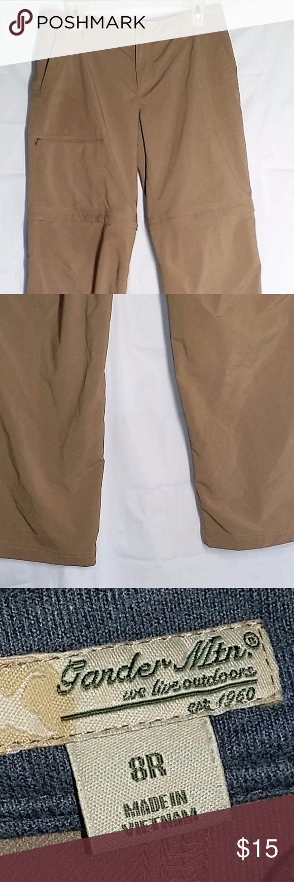 "Gander Mountain Pants 8 Khaki Convertible Cargo Gander Mountain Women's Pants 8R Khaki Convertible Cargo Pockets Beige Outdoor Polyester & spandex Convertible to shorts Approx waist 32.5"", rise 9 and inseam 30""   Gently used Gander Mountain Pants"