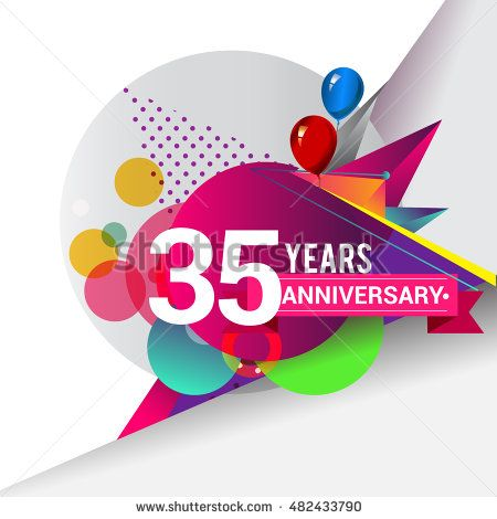 35 years Anniversary logo, Colorful geometric background vector design template…