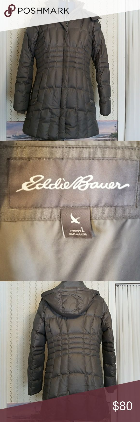 """Down Coat Ladies down coat - excellent condition! 19.75"""" seam to seam at waist, 21.5"""" seam to seam under arms, 32.5"""" from back collar seam to bottom of coat. From non-smoking home. Eddie Bauer Jackets & Coats"""