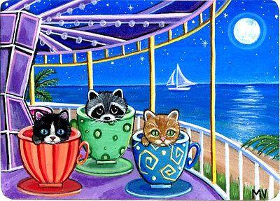 Original Raccoon Kitten Cat Carnival Tropical Carousel Teacups Ride ACEO Print