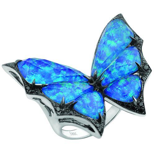 "Stephen Webster Fly By Night 18K White Gold, Opal & Black Diamond ""Flutter"" Ring"